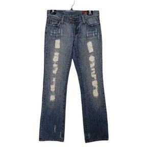 7 FOR ALL MANKIND blue embellished distressed low rise flare jean pant size 27
